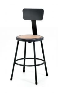 "4 PACK NPS Black Lab Stool with Backrest - 24"" Seat Height"