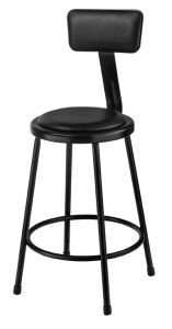 "4 PACK NPS 6400 Series 24"" Black Vinyl Padded Stools With Backrest"