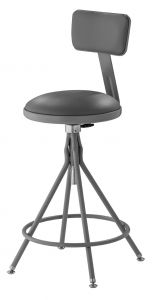 """NPS 6500 Series Height Adjustable 24""""-28"""" Gray Swivel Stool with Backrest"""