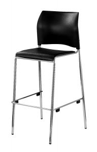 4 PACK Stacking Cafe Stool with Vinyl Padded Seat by National Public Seating