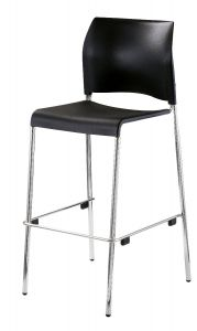 4 PACK Stacking Cafe Stool with Plastic Seat by National Public Seating