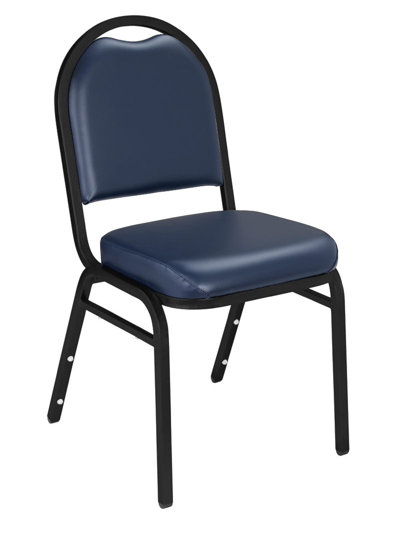 4 PACK National Public Seating 9200 Series Vinyl Padded Banquet Chair - Black Sandtex Frame