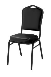 4 PACK Silhouette Series Black Vinyl Banquet Chairs with Black Sandtex Frame by National Public Seating