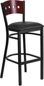 HUSKY Seating® Mahogany Wood Four Square Back Restaurant 500 LB Bar Stool