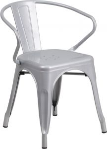 HUSKY Seating® 500 LB Stackable Indoor-Outdoor Mid-Back Bistro Style Metal Chair