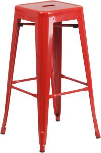 "HUSKY Seating® 500 LB Modern 30"" Indoor-Outdoor Stacking Metal Bar Stool with Square Seat"