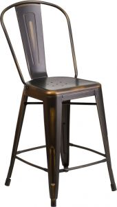 "HUSKY Seating® 500 LB Indoor-Outdoor Distressed Copper Counter Height 24"" Metal Bar Stool"