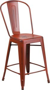 "HUSKY Seating® 500 LB Distressed Finish Counter Height 24"" Indoor-Outdoor Metal Bar Stool"