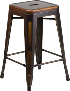 "HUSKY Seating® 500 LB Counter Height 24"" Indoor-Outdoor Stacking Distressed Copper Bar Stool with Square Seat"