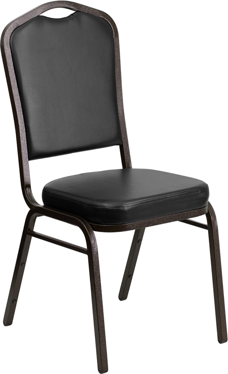 HUSKY Seating® 500 LB Heavy Duty Black Vinyl Commercial Stacking Banquet Chair with Gold Vein Frame