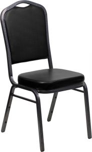 HUSKY Seating® 500 LB Crown Back Commercial Stacking Banquet Chair - Silver Vein, Black Vinyl