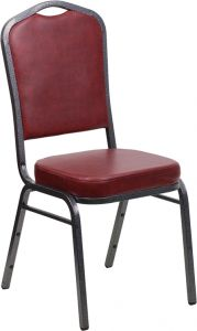 HUSKY Seating® 500 LB Crown Back Commercial Stacking Banquet Chair - Silver Vein, Burgundy Vinyl