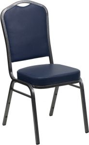 HUSKY Seating® 500 LB Crown Back Commercial Stacking Banquet Chair - Silver Vein, Navy Blue Vinyl
