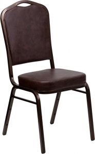 HUSKY Seating® 500 LB Commercial Vinyl Banquet Stacking Chair with Copper Vein Frame-Brown