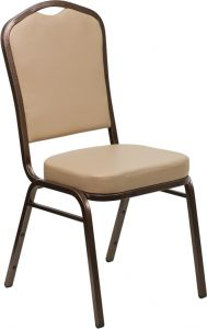 HUSKY Seating® 500 LB Commercial Vinyl Banquet Stacking Chair with Copper Vein Frame-Tan