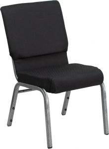 HUSKY Seating® 800 LB Heavy Duty Black Fabric Auditorium Chair - Silver Vein