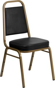 HUSKY Seating® 500 LB Vinyl Commercial Banquet Stacking Chair with Gold Frame