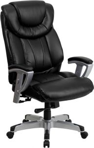 Husky Office® Heavy Duty 400 lb Big & Tall Black Leather Office Executive Chair with Lumbar Support