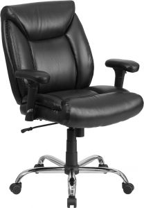 Heavy Duty 400 lb  Big & Tall Black Leather Office Task Chair with Lumbar Support