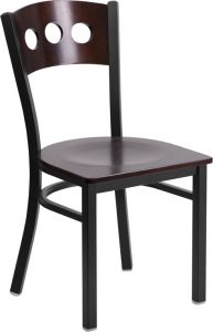 HUSKY Seating® Heavy Duty Walnut Wood 500 LB Restaurant Chair with Tri-Circle Back