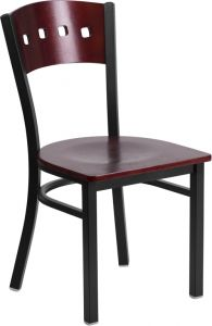 HUSKY Seating® Four Square Back 500 LB Restaurant Chair with Mahogany Wood Back & Seat