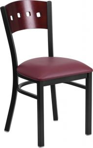 HUSKY Seating® Mahogany Wood Four Square Back 500 LB Restaurant Chair