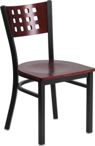 HUSKY Seating® Lattice Back 500 LB Restaurant Chair with Mahogany Wood Back & Seat