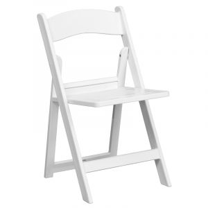 HUSKY Seating® 1000 lb. White Commercial Resin Folding Event Chair with Slat Seat