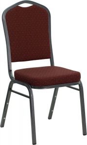 HUSKY Seating® 500 LB Burgundy Patterned Fabric Stacking Restaurant Chair with Silver Frame