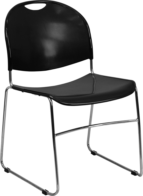 HUSKY Seating® 800 LB Compact Commercial Stack Chair with Chrome Sled Base