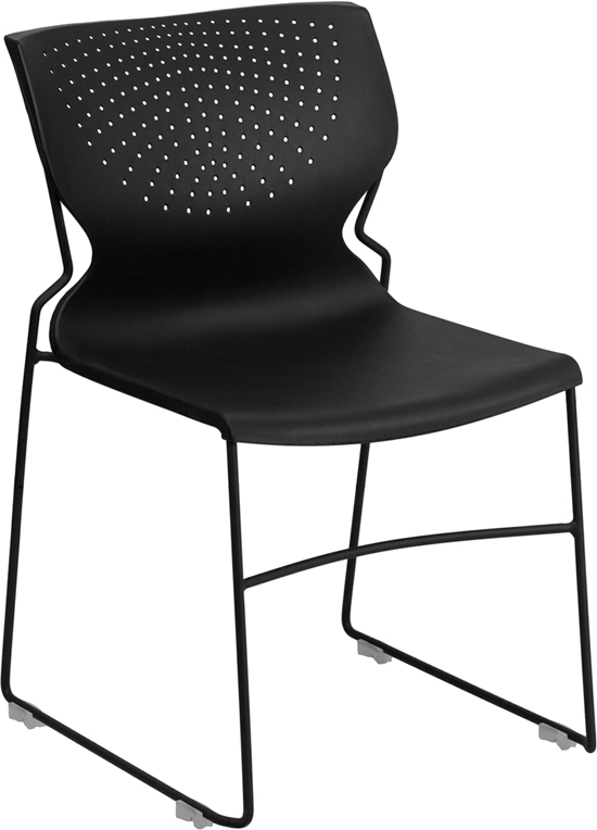 HUSKY Seating® 650 LB Modern Commercial Stack Chair with Breathable Back-Black