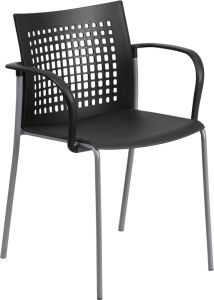 HUSKY Seating® 550 LB Indoor-Outdoor Stack Chair wth Vented Back-Black