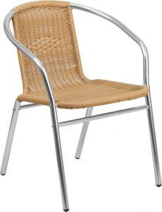 HUSKY Seating® 352 LB Aluminum & Rattan Indoor-Outdoor Restaurant Stack Chair