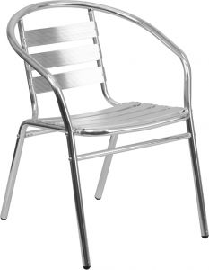 HUSKY Seating® Indoor-Outdoor Aluminum Restaurant Stack Chair with Triple Slat Back