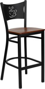 HUSKY Seating® Heavy Duty 500 LB Restaurant Bar Stool with Coffee Shop Back & Wood Seat