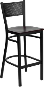 HUSKY Seating® Heavy Duty 500 LB Restaurant Bar Stool with Grid Back & Wood Seat