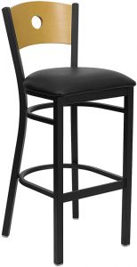 HUSKY Seating® Heavy Duty 500 LB Restaurant Bar Stool with Natural Wood Circle Back