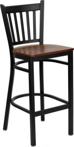 HUSKY Seating® Heavy Duty 500 LB Metal Bar Stool with Vert Slat Back & Wood Seat