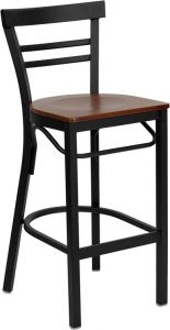 HUSKY Seating® Heavy Duty 500 LB Metal Bar Stool with Mid-Back & Wood Seat