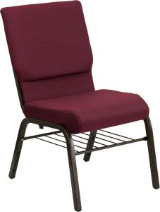 HUSKY Seating® 800 LB Heavy Duty Burgundy Fabric Auditorium Chair - Gold Vein & Book Rack