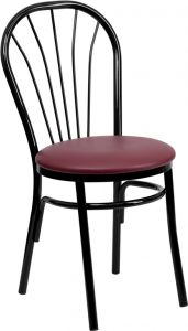 HUSKY Seating® Black Metal Fan Back 500 LB Restaurant Chair
