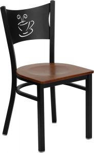 HUSKY Seating® Heavy Duty Coffee Cup Design 500 LB Restaurant Chair with Wood Seat