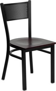 HUSKY Seating® Black Metal 500 LB Restaurant Chair with Grid Back Design & Wood Seat