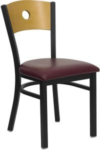HUSKY Seating® Heavy Duty 500 LB Restaurant Chair with Natural Wood Circle Design Back