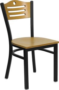 HUSKY Seating® Durable Natural Wood 500 LB Restaurant Chair with Slat Back Design