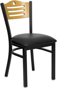 HUSKY Seating® Heavy Duty 500 LB Restaurant Chair with Natural Wood Slat Design Back