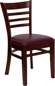 HUSKY Seating® Ladder Back Wood 800 LB Restaurant Chair with Mahogany Finish & Vinyl Seat