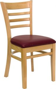HUSKY Seating® Ladder Back Wood 800 LB Restaurant Chair with Natural Finish & Vinyl Seat