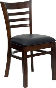 HUSKY Seating® Ladder Back Wood 800 LB Restaurant Chair with Walnut Finish & Vinyl Seat