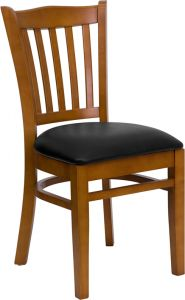 HUSKY Seating® Vertical Back Wood 800 LB Restaurant Chair with Cherry Finish & Vinyl Seat